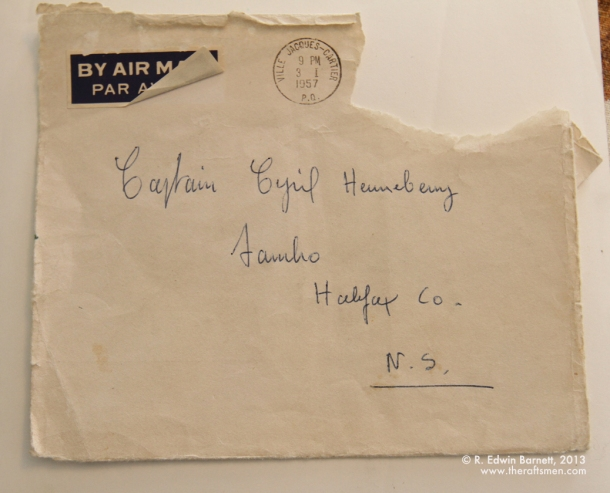 A card sent to Cpt. Cyril in 1956.